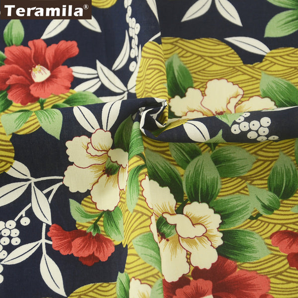 Cotton Poplin Fabric Navy Pillows Crafts Dress Camellia Bedding Home Decoration Patchwork Pillows