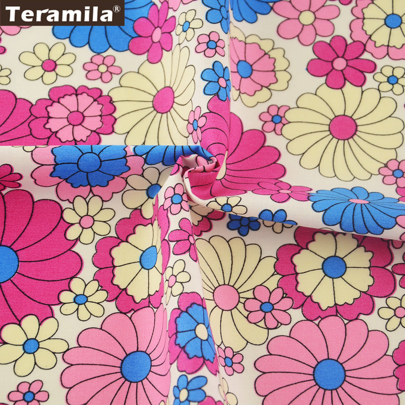 Cotton Poplin Fabric Begonias Quilting Dress Fat Quarter Meter Clothing Home Decoration Dolls