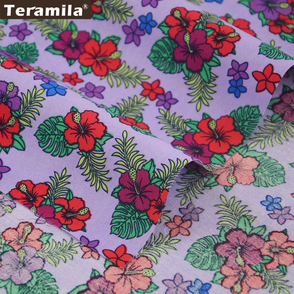 Cotton Poplin Fabric Light Purple Floral Fat Quarter Meter Scrapbooking Dress Crafts Shirt Dolls