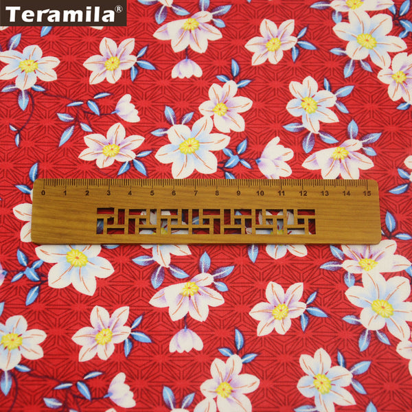 Cotton Poplin Fabric Clothing Home Decoration Daffodils Quilting Fat Quarter Meter Crafts Dress