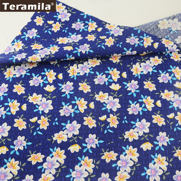 Cotton Poplin Fabric Dress Blue Crafts Fat Quarter Meter Shirt Quilting Home Decoration Sewing