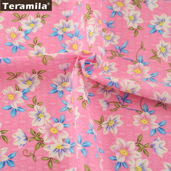 Cotton Poplin Fabric Lovely Floral Pink Fat Quarter Meter Shirt Clothing Dress Quilting Patchwork