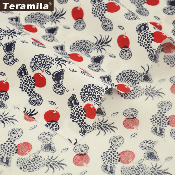 Cotton Poplin Fabric White Dress Patchwork Different Fruits Bedding Home Decoration Crafts Shirt