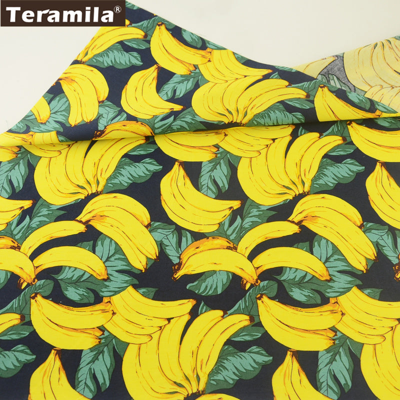 Cotton Poplin Fabric Navy Decoration Fat Quarter Meter Banana Clothing Quilting Dress Shirt Crafts