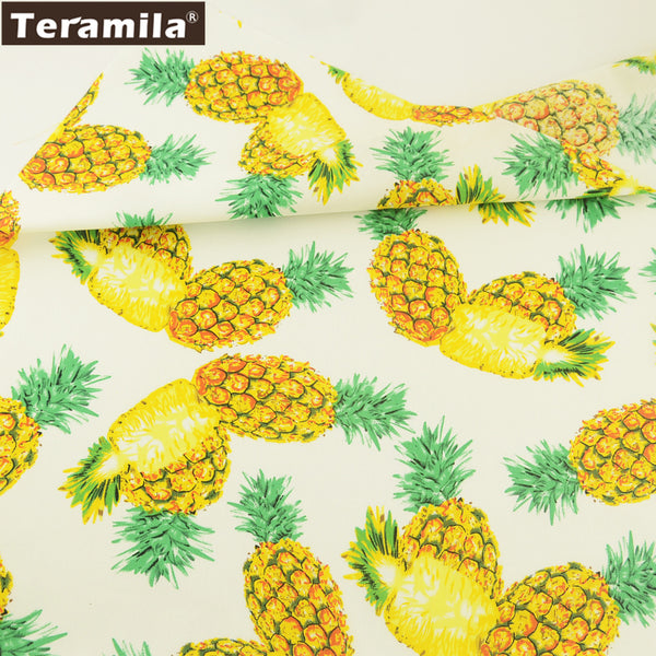 Cotton Poplin Fabric Dress Crafts Vivid Pineapple Fat Quarter Meter Home Decoration Shirt Quilting