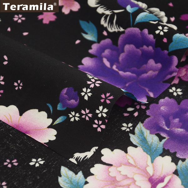 Cotton Poplin Fabric Dolls Patchwork Black Quilting Dress Curtains Shirt Home Decoration Clothing