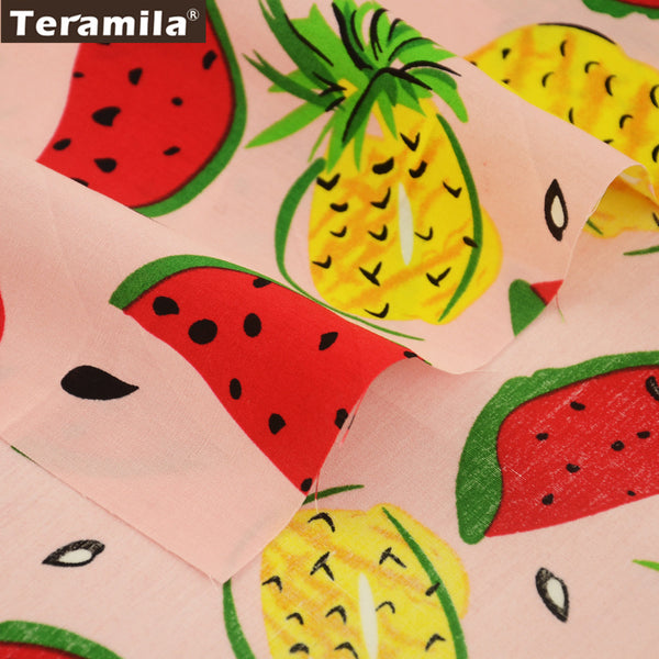 Cotton Poplin Fabric Quilting Dress Lovely Pineapple And Watermelon Pink Decoration Crafts Dolls