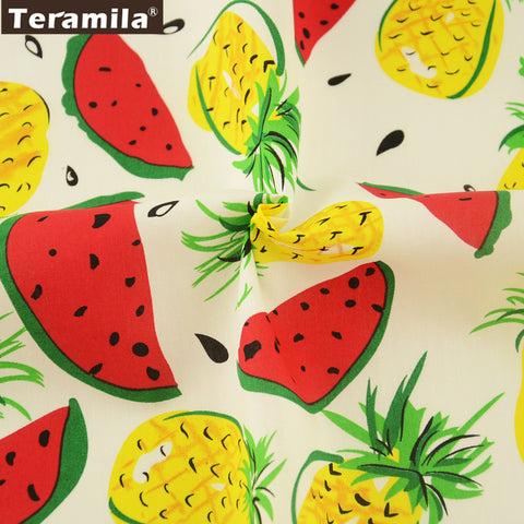 Cotton Poplin Fabric Pineapple And Watermelon Quilting Clothing Dress Decoration Crafts Shirt