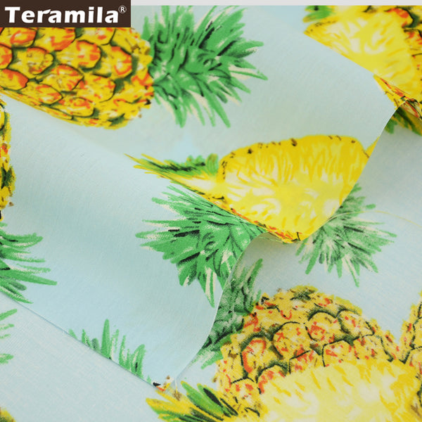 Cotton Poplin Fabric Light Blue Fat Quarter Meter Art Work Pineapple Dress Clothing Quilting Dolls