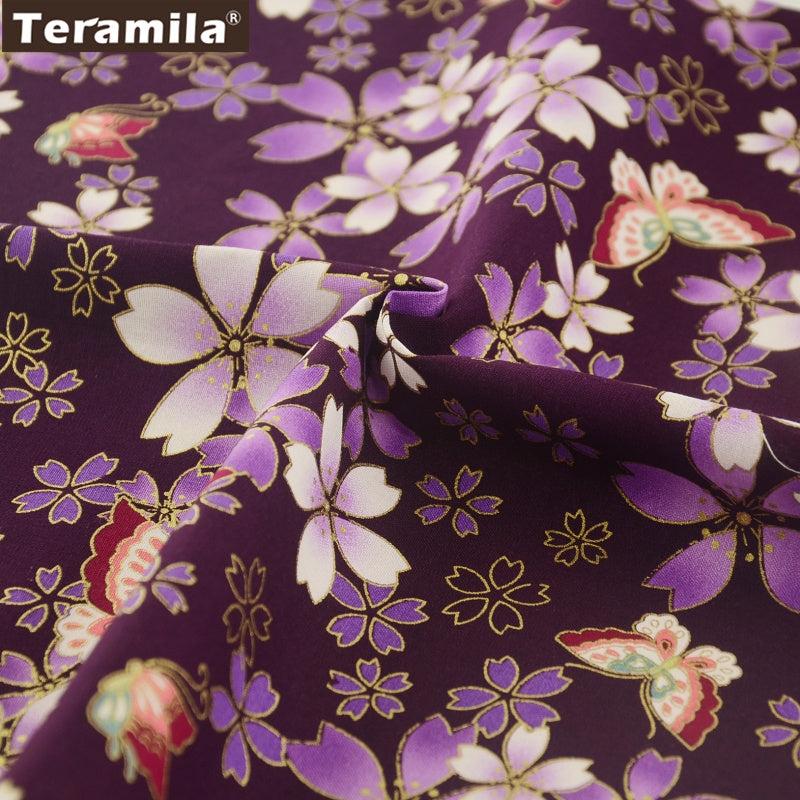 Linen Fabric High Quality Purple Gold Powder Flower And Butterfly Curtains Table Cloth Decoration