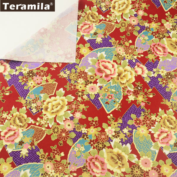 Linen Fabric Sewing High Quality Quilting Curtain Cushion Glod Powder Flowers Table Cloth Crafts