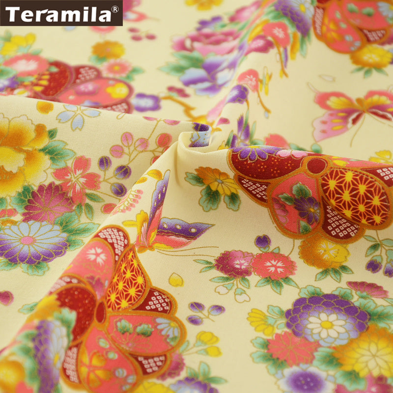 Linen Fabric Decoration Sewing High Quality Flower And Butterfly Gold Powder Table Cloth Pillow