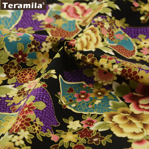 Linen Fabric Quilting Art Work Gold Powder Flowers Pillow Bag High Quality Table Cloth Dolls Curtain