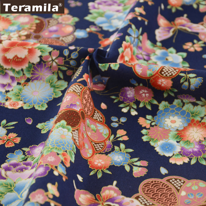 Linen Fabric Gold Powder Flower And Butterfly Navy High Quality Home Decoration Sewing Crafts