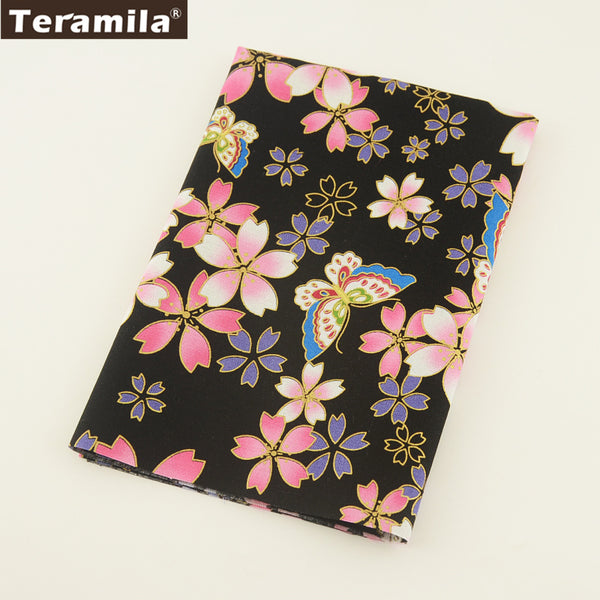Linen Fabric Fat Quarter Meter Gold Powder Flower And Butterfly Table Cloth Bag High Quality Crafts