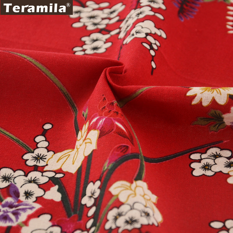Linen Fabric Blossoming Winter Jasmine Home Decoration Bag Curtain Cushion Table Cloth Crafts