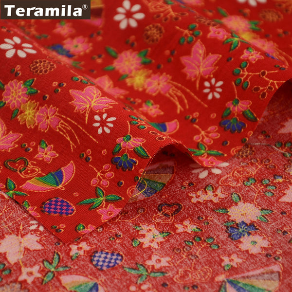 Linen Fabric Colorful Fan High Quality Quilting Fat Quarter Meter Crafts Curtain Sewing Patchwork