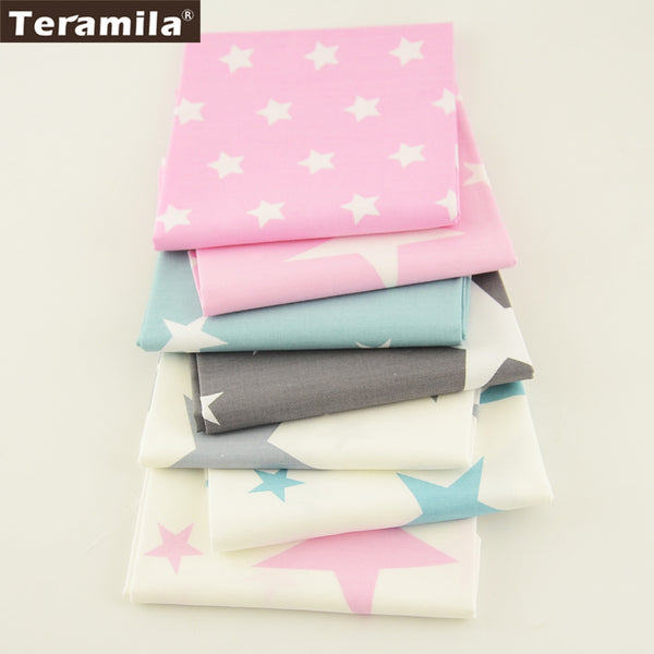Teramila Cotton Fabric 7 Pcs/lot 40cmx50cm Shining Stars Designs Bundle Clothes Scrapbooking For Sewing Quilting Bedding Tissue