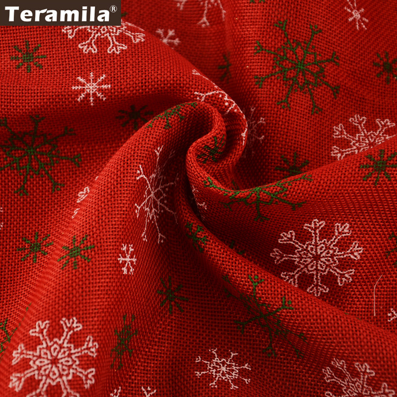 Linen Fabric Snowflake Red Table Cloth Bag Decoration Sewing DIY Dolls Crafts 50X150cm Pillows