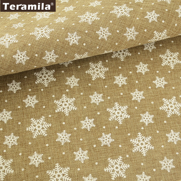 Linen Fabric Printed Snowflake DIY Dolls 50X150cm Clothing New Arrival Fat Quarter Meter Cushion