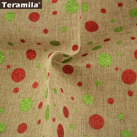 Linen Fabric Home Textile Crafts Bag Patchwork Colorful Dots 50X150cm Fat Quarter Meter Cushion