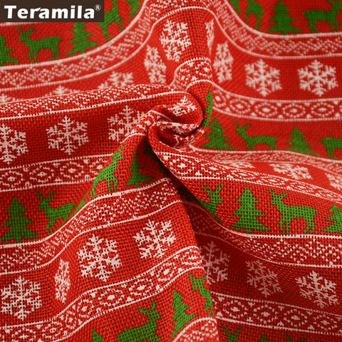 Linen Fabric Crafts Home Textile 50X150cm Red Christmas Theme Bag Decoration Sewing Cushion