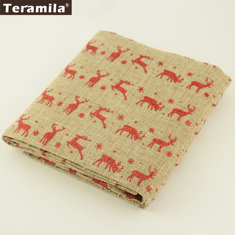 Linen Fabric Red Elk Sewing Bag Table Cloth Cushion Pillows 50X150cm Curtain Crafts Patchwork