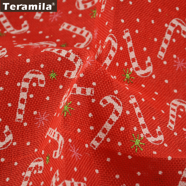 Linen Fabric Patchwork Table Cloth Candy Cane 50X150cm Scrapbooking Home Decoration Sewing