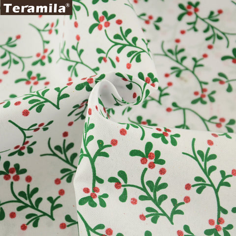 Linen Fabric  Home Textile DIY Dolls Crafts 50X150cm Printed Leaves Table Cloth Cushion Sewing