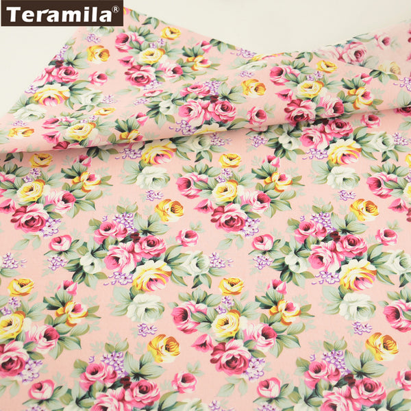 Cotton Poplin Fabric Home Decoration Art Work Decorations Pink Rose Fat Quarter Meter Dress