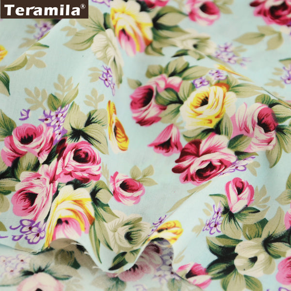 Cotton Poplin Fabric Dress High Quality Rose Bedding Set Quilting Clothing Skirt Home Textile