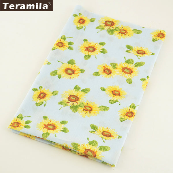 Cotton Poplin Fabric Fat Quarter Meter Quilting Bedding Set Crafts Sunflower Quilting Clothing
