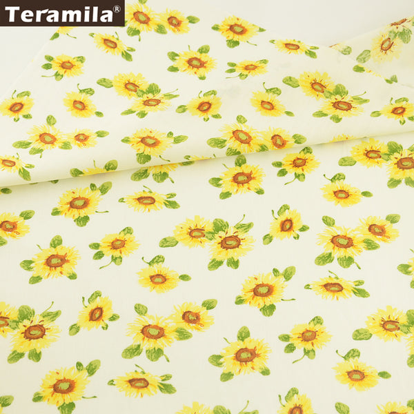 Cotton Poplin Fabric Sunflower Bedding Home Decoration Pillow Shirt Skirt Crafts Art Work Dress