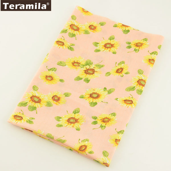 Cotton Poplin Fabric Bed Sheet Home Textile Sunflower Dress Skirt Cushion Craft Fat Quarter Meter