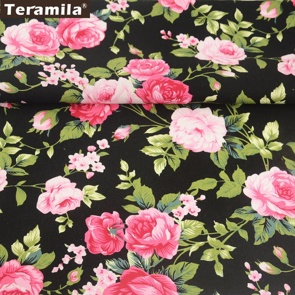 Cotton Poplin Fabric Rose Scrapbooking Dress Art Work Skirt Crafts Shirt  FatQuarter Meter Textile