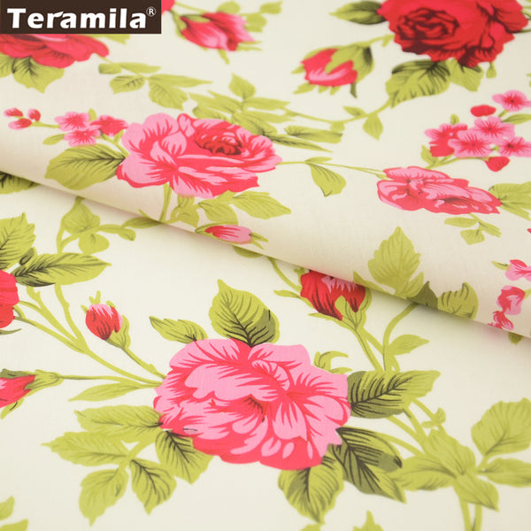 Cotton Poplin Fabric Dress Rose Art Work Quarter Meter Home Textile Dress Pillows Shirt Crafts