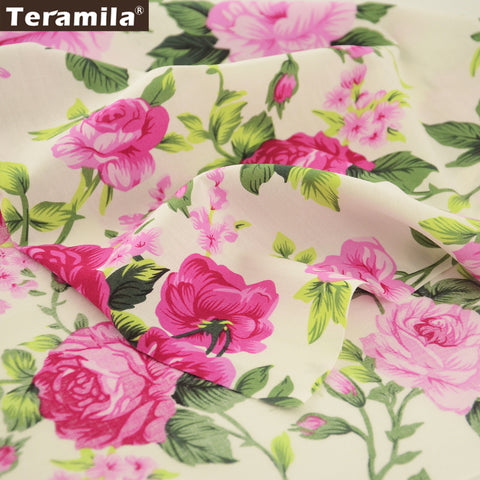 Cotton Poplin Fabric Clothing Home Decoration Sewing Shirt Printed Rose Dress Skirt Patchowork