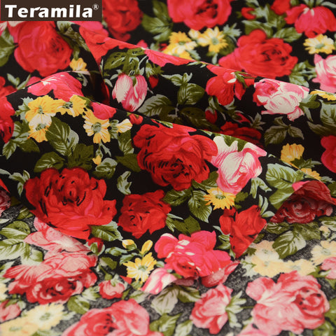 Cotton Poplin Fabric Red Rose Design Meter Fabric Sewing Pillows Dress Crafts Shirt Quilting Dolls