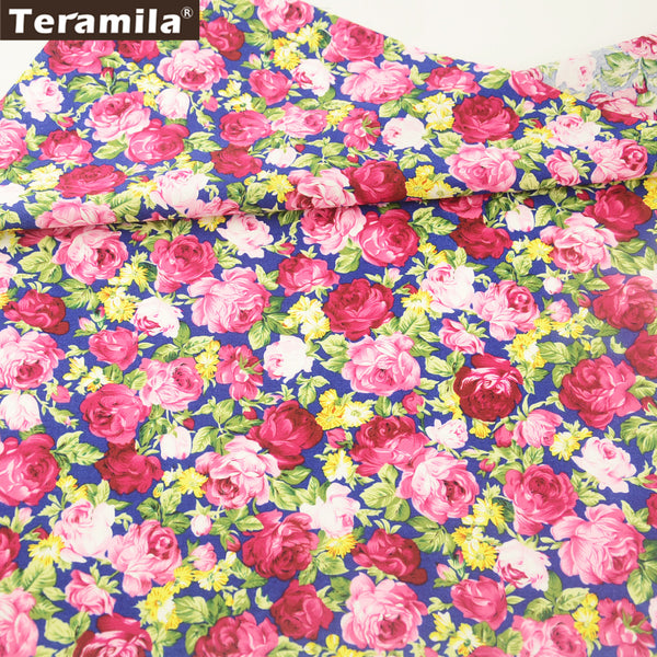 Cotton Poplin Fabric Meter Fabric Sewing Dress Blooming Rose Printed Art Work Shirt Home Textile