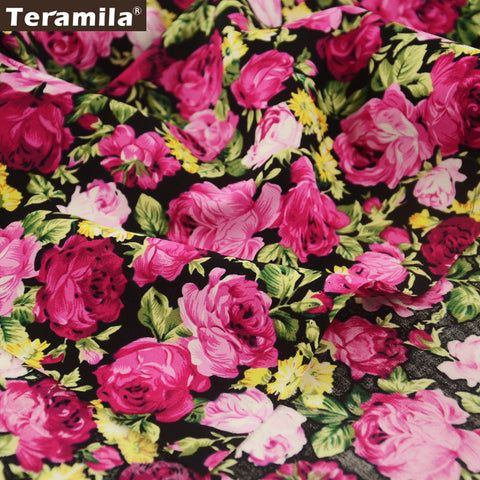 Cotton Poplin Fabric Quarter Meter Blooming Rose Pillows Shirt Home Textile Dress Scrapbooking