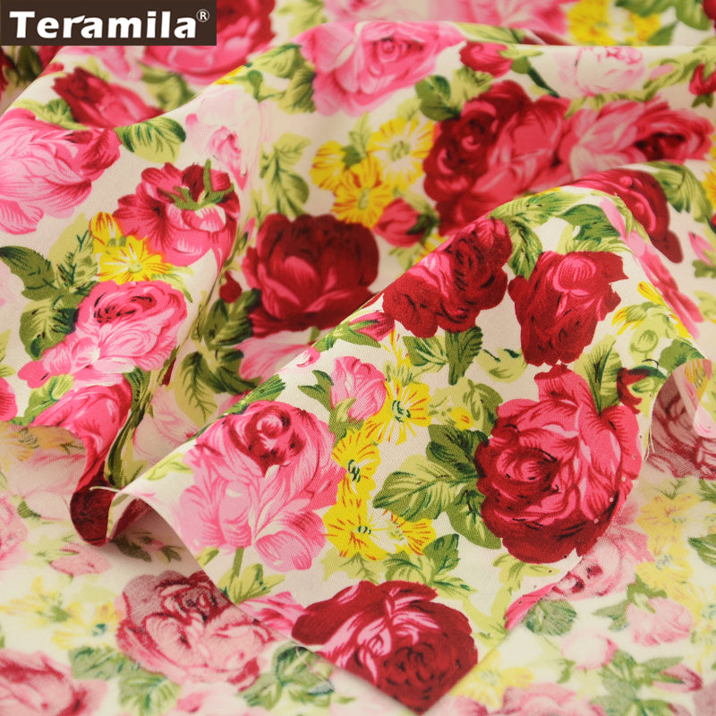 Cotton Poplin Fabric Scrapbooking Quilting Patchwork Dress Skirt Rose Pillows Quarter Meter Crafts