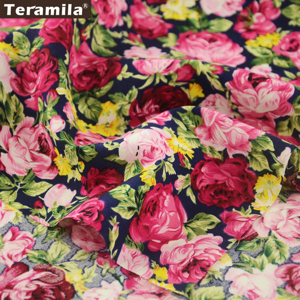 Cotton Poplin Fabric Home Textile Quilting Home Decoration Sewing Rose Crafts Dress Pillows Shirt