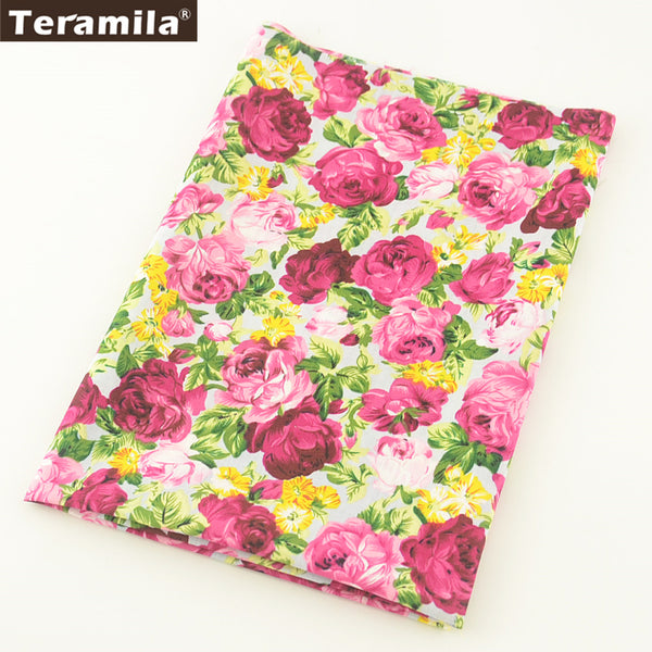Cotton Poplin Fabric Quilting Clothing Scrapbooking Blooming Rose Bedding Home Decoration