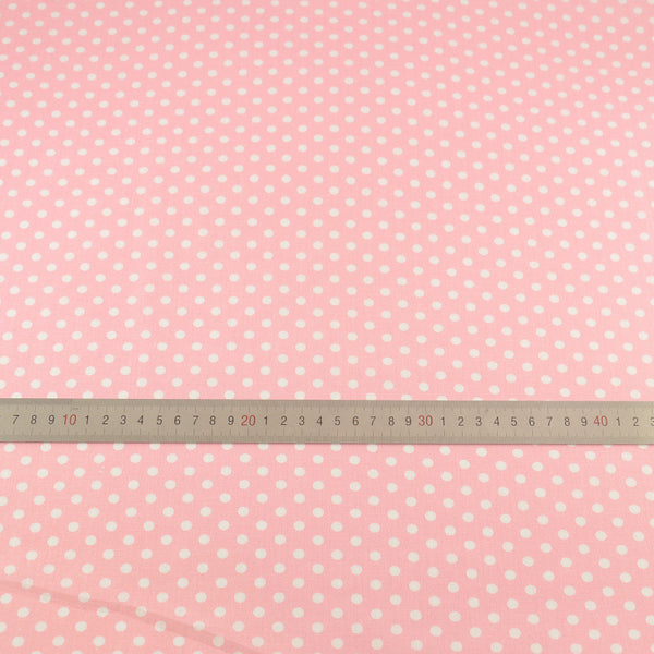 Patchwork Lovely White Dots Printed Pink Plain Cotton Fabric Home Textile Sewing Cloth