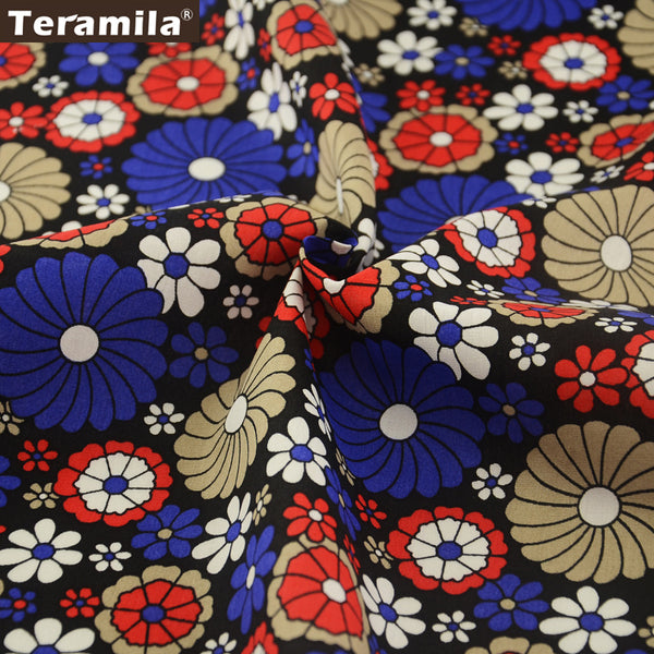 Cotton Poplin Fabric DIY Dolls Pillows Fat Quarter Meter Black Dress Flower Crafts Patchwork Shirt