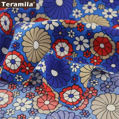 Cotton Poplin Fabric Dress Patchwork Home Textile Skirt Shirt Flower Quarter Meter Quilting Crafts