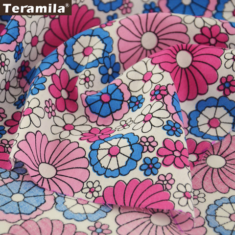 Cotton Poplin Fabric Clothing Colorful Flower Bedding Dress Home Decoration Skirt Quarter Meter