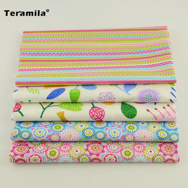 Teramila 5PCS/lot Flower Cotton Fabric Pre-cut Bundle Sewing Quilting Patchwork Tecido Tela Clothing Bedding Tissus Crafts