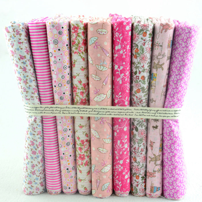 "50CMx50CM 9 Designs Assorted ""Kawaii Pink"" Cotton Fabric Fat Quaters Tilda cloth Quilting scrapbooking Patchwork Fabric"