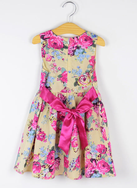 Summer Fashion Champagne Cotton Dress Girls Clothes Flower